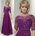Purple Half Sleeve Mother of the Bride Dresses 2017 Sequins Beading Mother Of Party Chiffon Crystal A-Line Bridal Mother Gowns