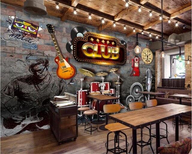 Beibehang wallpaper per pareti carta da parati 3d chitarra for Carta da parati bar
