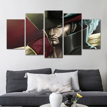 5 Piece HD Print Paintings on Canvas Wall Art Anime ONE PIECE Dracule Mihawk Wall Art Poster Prints Modern Decorative Artwork цена