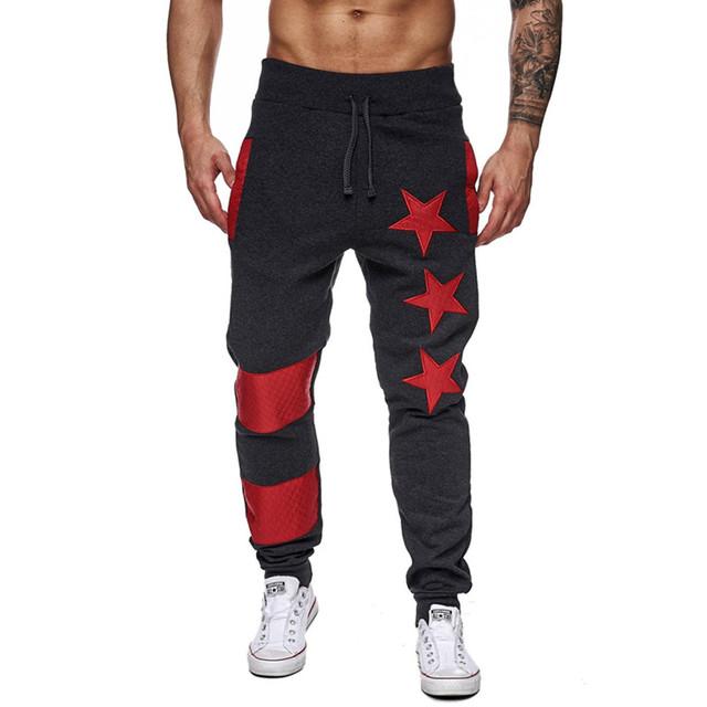 Mens Joggers 2017 Moda Casual Brand Estrella Sudor Pantalones de Fitness Pantalones de Harén Hombres Cómodos Pantalones Encuadre de cuerpo entero Con Bolsillos