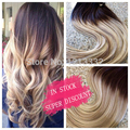 Hot queen 8a remy clip brasileño en la extensión del pelo humano productos de pelo de la trama del pelo recto ombre color t4/613
