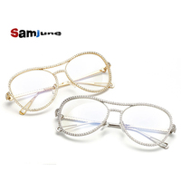 Samjune Sunglasses Women Decorative Rhinestone Brand Designer Copper Frame Mirror Lens Double Bridge Sun Glasses