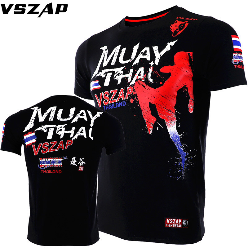 VSZAP Boxing Jerseys Fight MMA T-Shirt Gym Shorts Boxing Fitness Sport Muay Thai Cotton Breathable T Shirt Men Kick Boxing