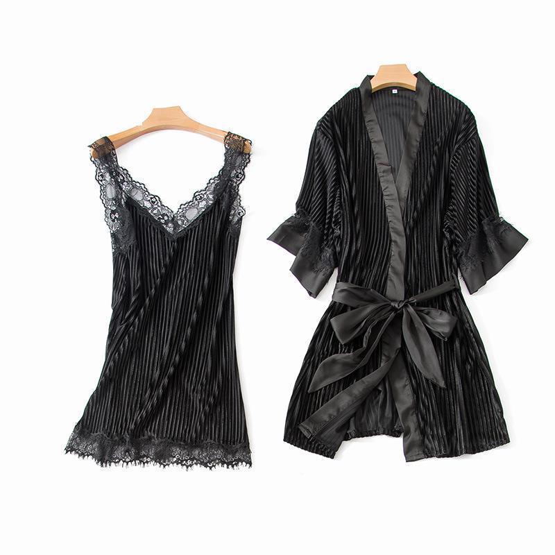 Detail Feedback Questions About Black Female Kimono Bathrobe Sexy