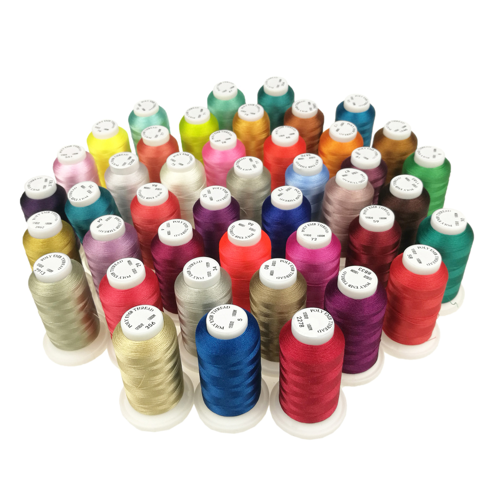 Polyester Embroidery Thread 1000M Filament Threads String High Strength Sheen For Sewing Overlocking On Home Machines TH00052