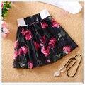 2016 Moda de Verano falda corta de organza vestido de Bola Falda de Las Mujeres con Pantalones de Seguridad Ocasional Floral Short bow Faldas