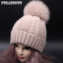 Winter Warm Fur Hat Cashmere Wool Knitted Female Beanie Hat Big Fox Fur Pom Pom Hats For Women