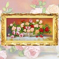 Лента вышивка diy холст картины, цвет печатных цветов картина роза, рукоделие ремесла вышивки крестом комплект Настенный декор C-0094
