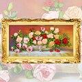 Fita Bordado diy Pintura Da Lona, cor Impressa Imagem Flores Rosa, Needlework Artesanato do Ponto da Cruz Kit Decoração Da Parede C-0094