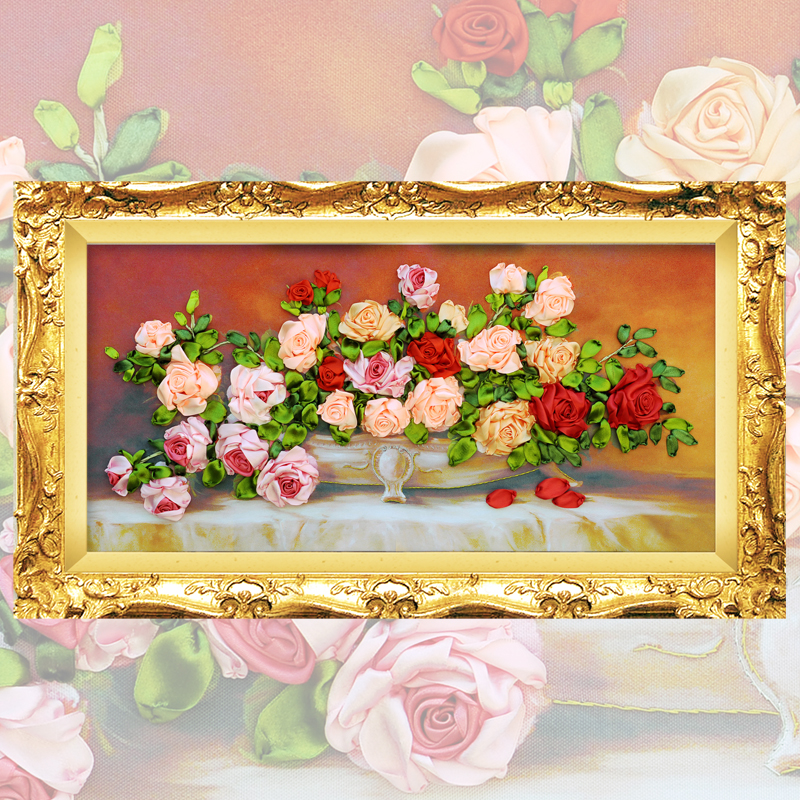 Ribbon Embroidery diy Canvas Painting, Color Printed Flowers Picture Rose , Needlework Crafts Cross Stitch Kit Wall Decor C-0094