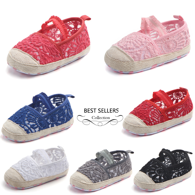 Newborn Princess lace shoes Hemp First walkers Crib Brand baby Prewalker soft bottom Cute Baby Shoes 0-18 Months