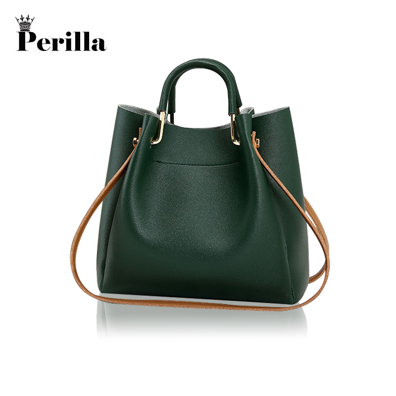 Perilla Brand Luxury Handbags 2018 Designer Women Leather Narrow Strap Bag Female Shoulder Bag Messenger Bags Bucket Tote Big brand luxury handbags female bag designer women leather bag female shoulder bag women messenger bags bucket tote with wide strap