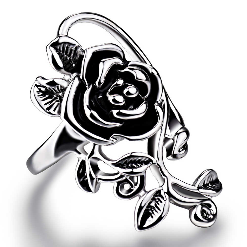 Gothic ผู้หญิง Rose ดอกไม้ Vine เคลือบโลหะผสม Finger Ring คอสเพลย์เครื่องประดับของขวัญใหม่ Chic