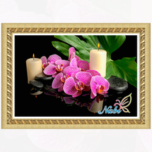 flower orchid kits 3d diy beadwork 6679R - Round Diamond embroidery cross stitch diamond mosaic painting