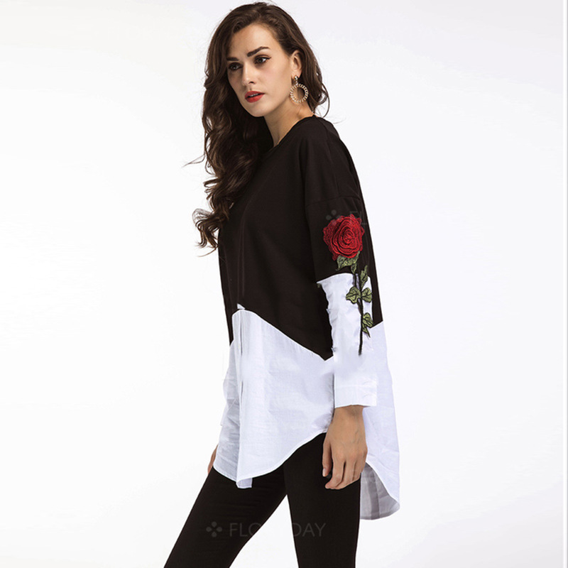 Elegant Floral embroidered blouse shirt 2018 long sleeve autumn o neck Embroidery flower black white plus size loose tops blusa