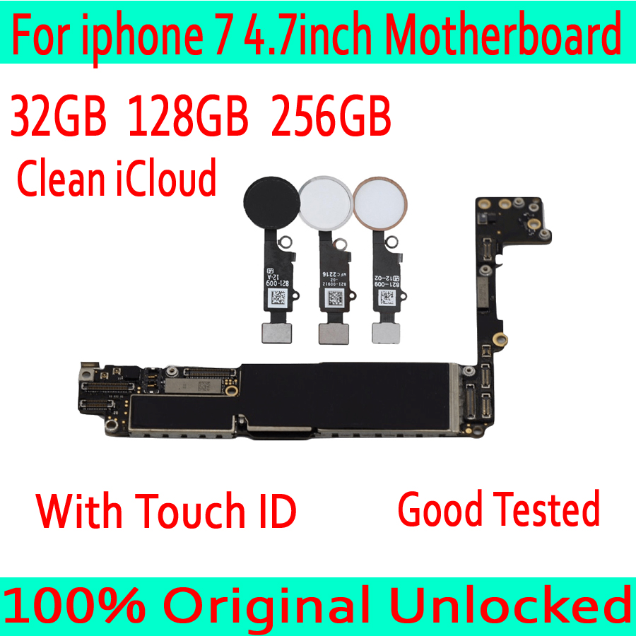 32GB 128GB 256GB for iphone 7 4 7inch Motherboard with Touch ID without Touch ID Plate
