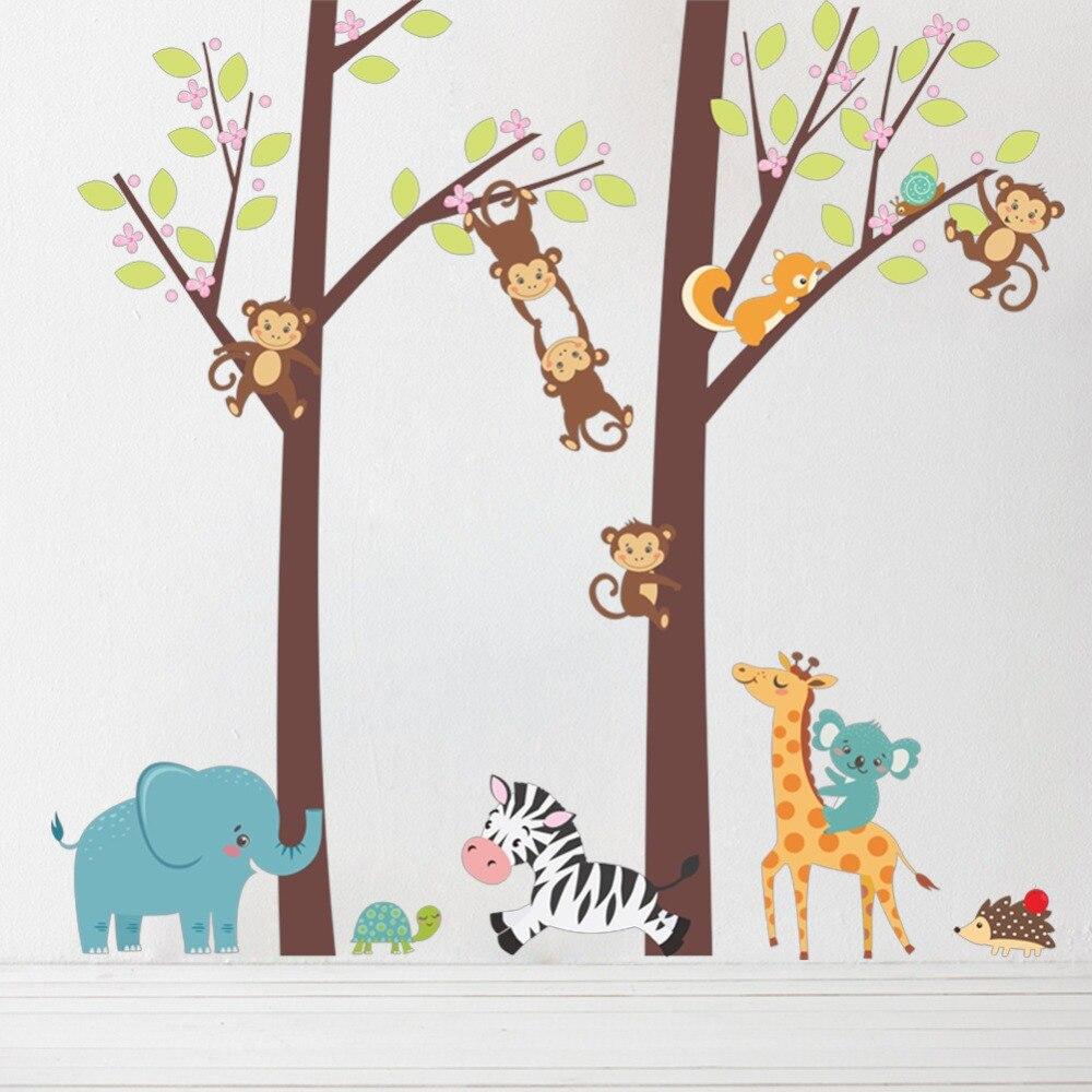 & Ovely Dieren Boomtak Muurstickers Kinderen Slaapkamer Speelkamer Decoratie Safari Aap Zebra Muurschildering Art Diy Home Decals Posters