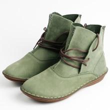 2017 neue Mode 100% Echtem Leder Frauen Schuhe Handgefertigte Vintage Frauen Lederstiefel weibliche arbeitsschuhe plus größe 35-40