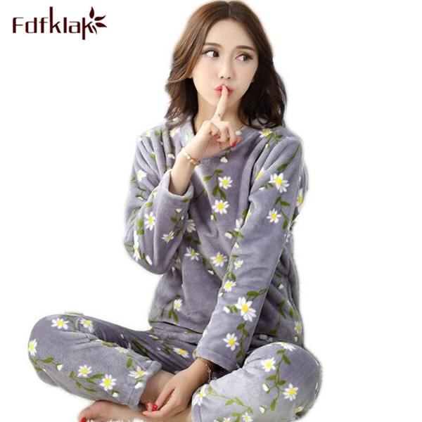 Fdfklak Flannel Winter Womens Pajamas Family Pajama Set Home Wear Long Sleeve Print Pijama Set Sleepwear Women Pyjamas Q470