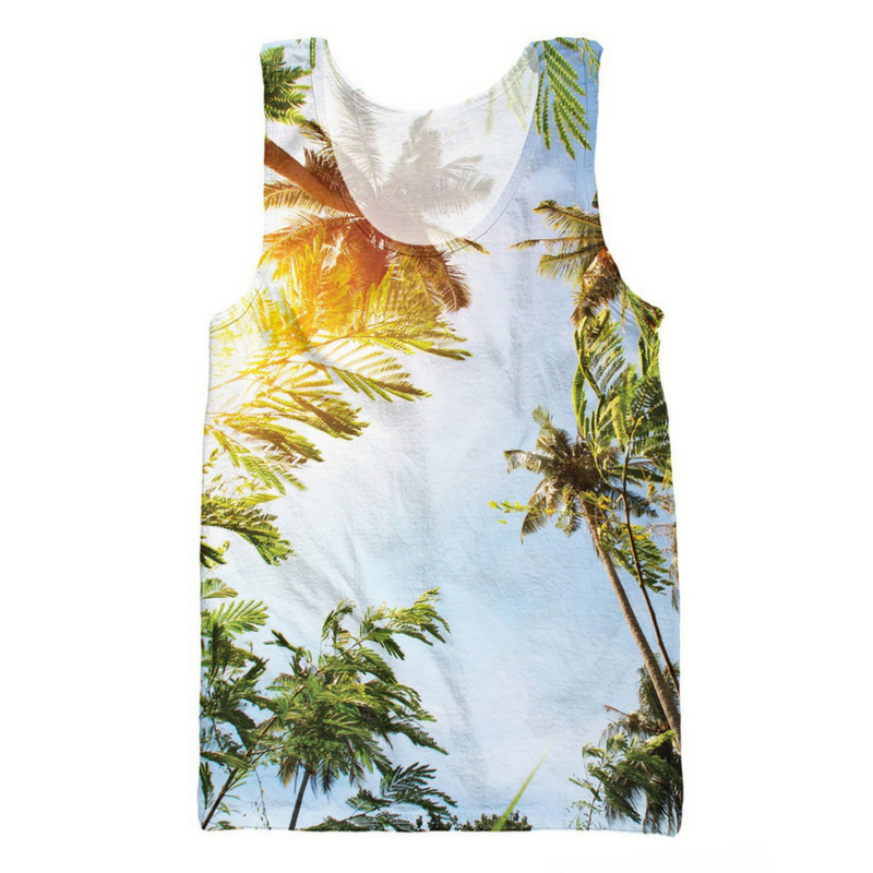 Cloudstyle 3D   Tank     Tops   Sunny Coconut Trees 3D Full Print Vest Vacation Sleeveless Streetwear Summer   Tops   Bodybuilding Singlet