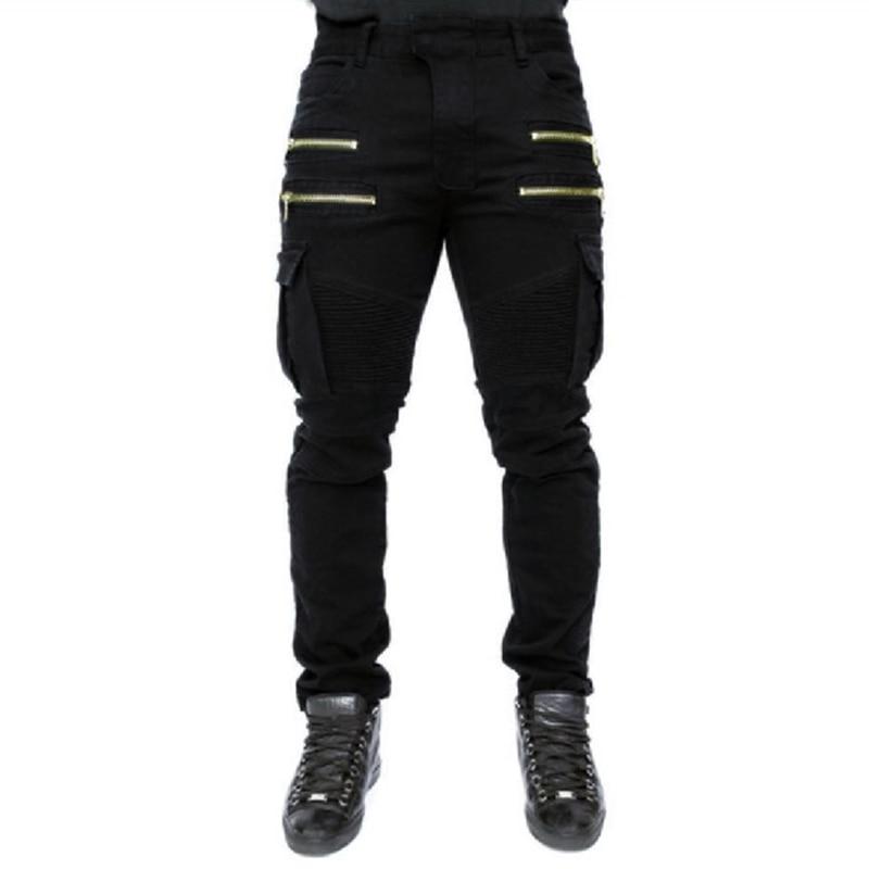 2017 fashion Hi Street Mens Cargo Jeans Designer Muli Pockets Zippers Skinny Elastic Runway Biker Motorcycle Denim Pants men s vintage fashion zippers deco casual cat whisker skinny jeans 2015 new designer cool street denim bootcut pencil pants
