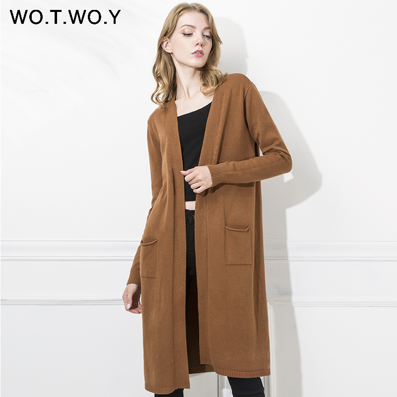 Wotwoy Autumn Knitted Long Cardigans Women Wool Long Sleeve