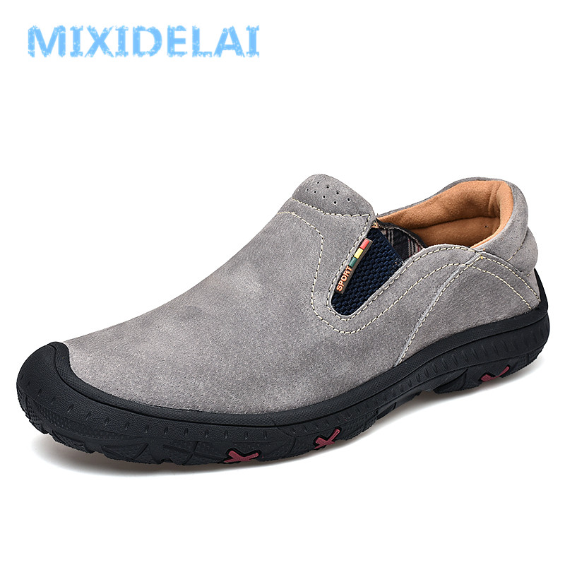 MIXIDELAI Moccasins Male Loafers For Men Shoes Slip On Flats Genuine Leather Driving Walking Soft Footwear Quality Spring Boat