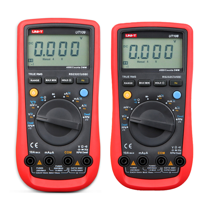 UNI-T UT105 UT107 UT108 UT109 LCD Automotive Handheld Multimeter AC/DC voltmeter Tester Meters with DWELL,RPM,Battery Check мультиметр uni t uni trend uni t ut203 rel dc ac 400a uni ut203 400a
