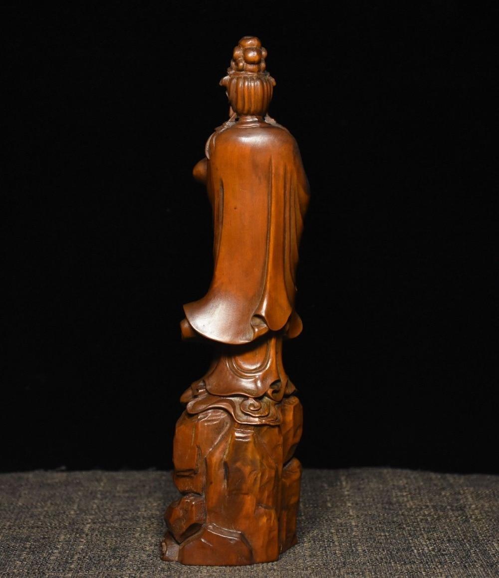 Chinese boxwood wood carve Guanyin Kwan-yin beautiful woman Goddesses statue