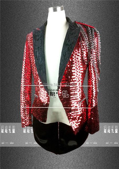 Hombres tuxedo red chaqueta Paillette personalidad dj vestuario teatral desgaste para bailarín del cantante desempeño estrella barra del club nocturno de la boda del baile