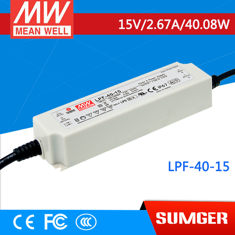 1MEAN WELL original LPF-40-15 15V 2.67A meanwell LPF-40 15V 40.08W Single Output LED Switching Power Supply [mean well] original lpf 60d 30 30v 2a meanwell lpf 60d 30v 60w single output led switching power supply