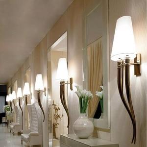 Image 3 - クリエイティブ led 壁ランプホテル現代の鉄の壁ランプダイニングリビングルームヘッド AC85 265V 燭台照明器具