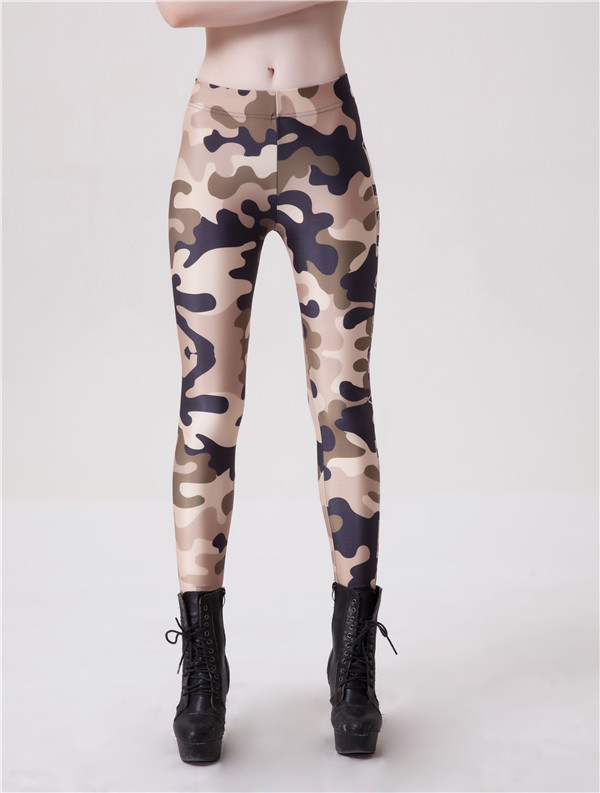 Autumn Summer Women's Digital Camouflage Leggings Printed Elastic Pants Trousers Elastic Work out Wear Leggins