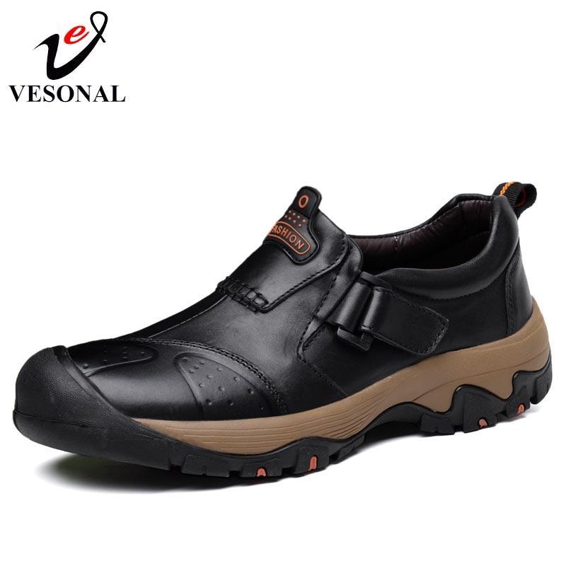 VESONAL 2018 Winter Genuine Leather Casual Male Shoes For Men Adult Footwear Classic Hook Loop Work