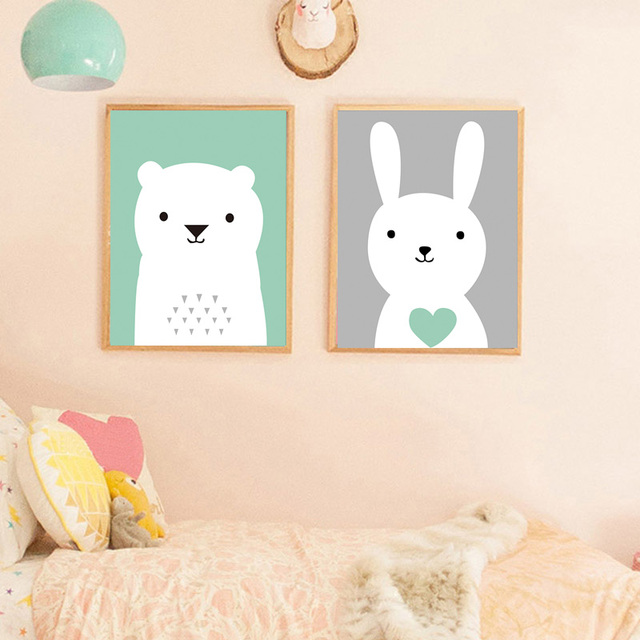 Nordic Style Kids Decoration Rabbit Posters And Prints Wall Art Canvas  Painting Kids Room Wall Pictures Canvas Art Unframed Bear