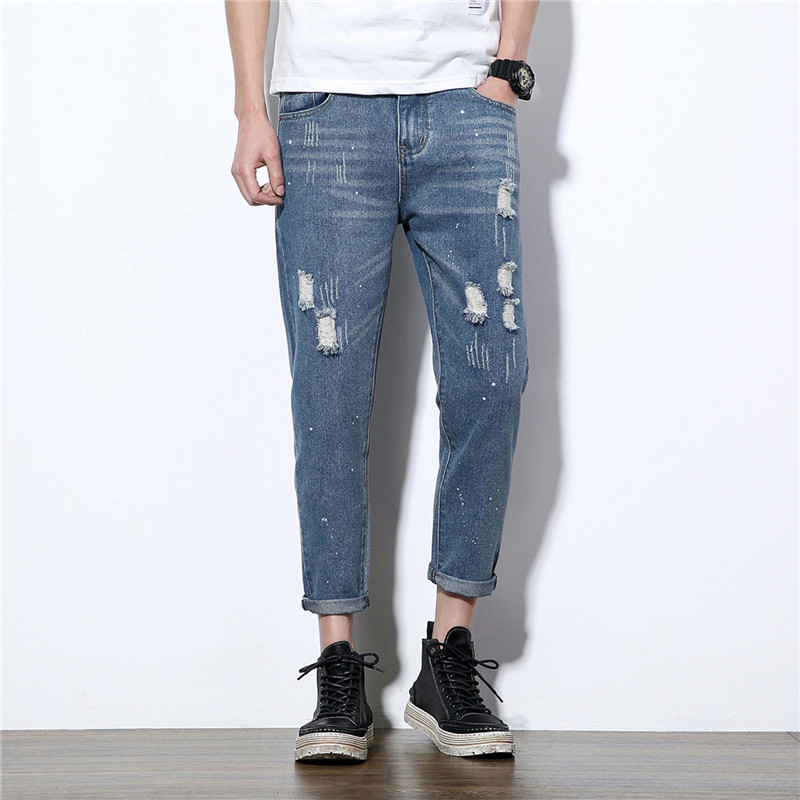 Size 28-42 Men Fashion Casual Jeans Hole Printing Male Denim Pant Trousers large size 29 42 young men jeans hole patchwork denim harem pant male fashion casual denim pant trousers