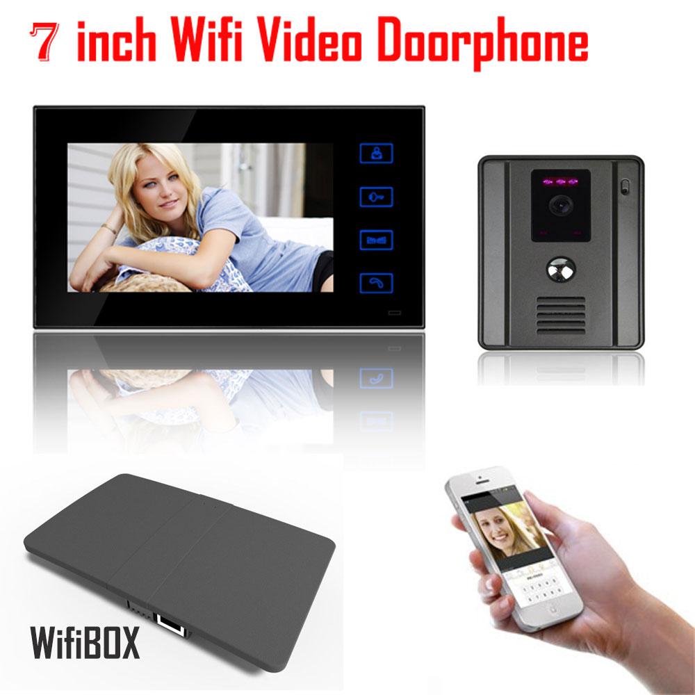 7 Inch Touch Key LCD Wireless WiFi Network APP Smart Video Door Phone HD 700TVL 110 Wide Angle IR Camera Video Intercom Doorbell