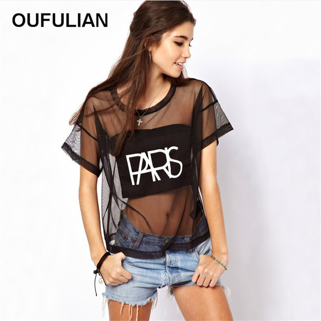 2016 Summer Hot Black Mesh Perspective Sexy T-shirt Short Sleeve Letters Print  Women Loose T-shirts See-Through Club Top Tees