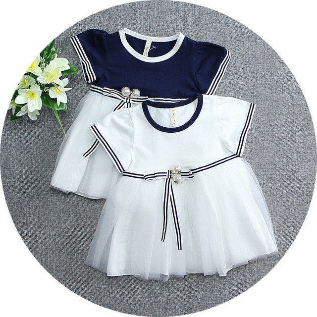 2016 Summer striped sleeve toddler dress lovely party girls vest dress cotton mesh baby dress Princess Costume newborn dresses