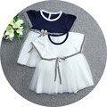2016 Verão listrado manga vestido de festa linda meninas vestido de colete de malha de algodão do bebê da criança vestido de Princesa Traje vestidos de recém-nascidos