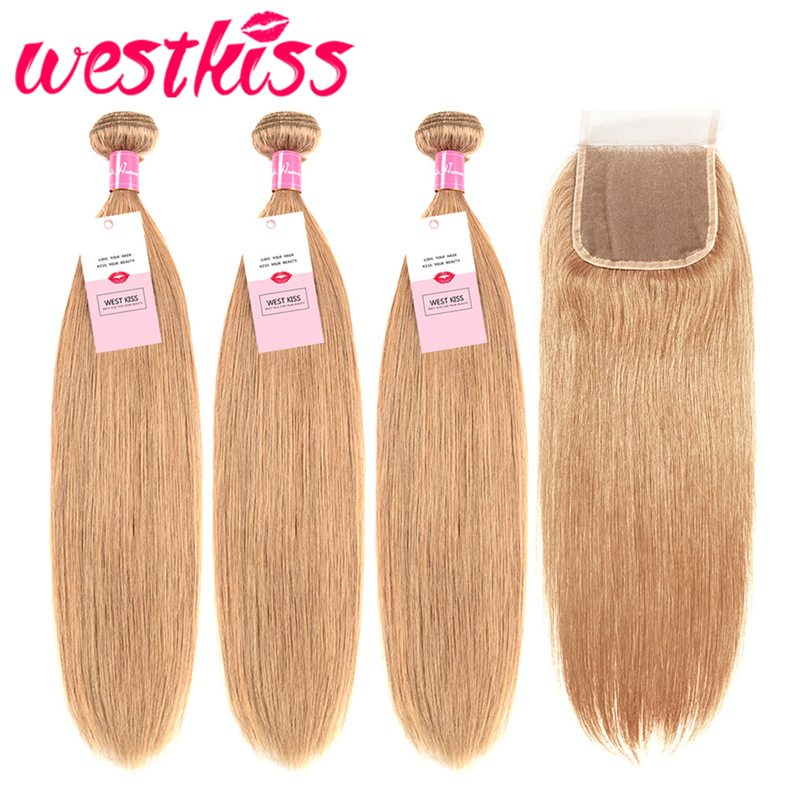 3/4 Bundles With Closure 27# Pure Colored Honey Blonde Bundles With Closure Brazilian Straight Hair Bundles 100% Human Hair Preplucked Lace Closure Remy Moderate Price