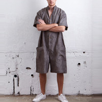 Feitong/модные мужские свободный покрой короткий рукав летний комбинезон рубашки брюки-карго