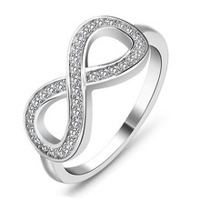 Best Friend Gift High Quality 925 Sterling Silver Color Infinity Ring Endless Love Symbol Fashion Rings For Women RA023(China)