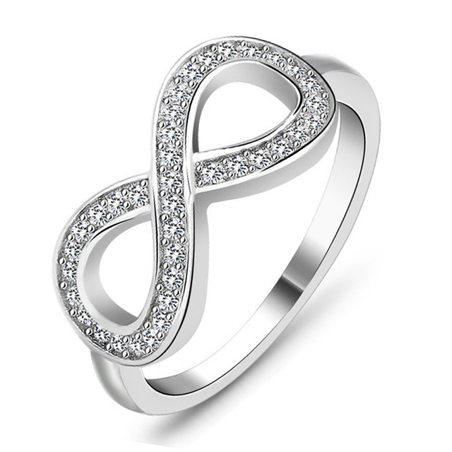 Best Friend Gift High Quality 925 Sterling Silver Color Infinity Ring Endless Love Symbol Fashion Rings For Women RA023