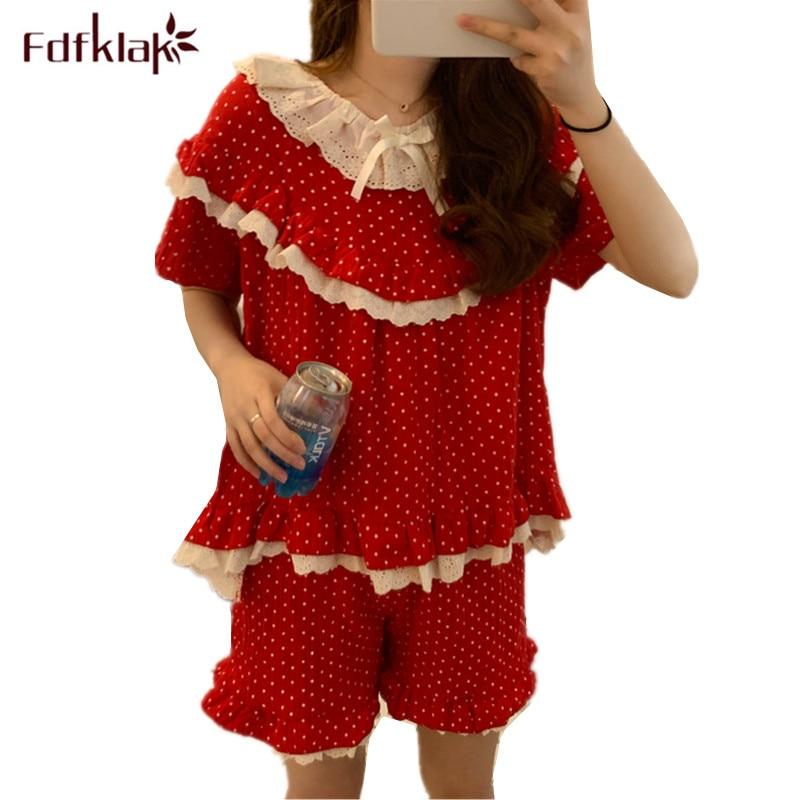 Fdfklak Sweet girl's sleepwear set new polka dot pyjamas women short sleeve cotton pijamas sets o-neck summer pajamas femme new