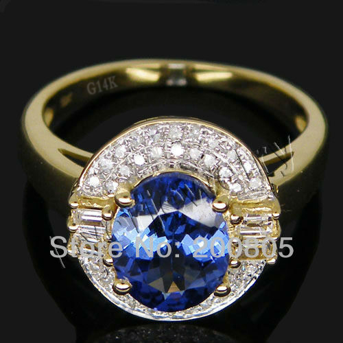 New 2.96Ct Natural Diamond AAAA Blue Tanzanite Wedding Ring Solid 14K Yellow Gold For Sale solid 14k rose round 13mm gold diamond natural blue topaz ring wedding ring hot sale