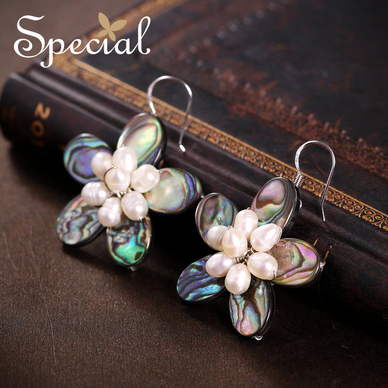 Special New Fashion Natural Pearls Drop Earrings 925 Sterling Silver Ear Hook Abalone Shell Jewelry Gifts for Women S1636E shell detail hook earrings