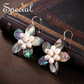 Special New Fashion Natural Pearls Drop Earrings 925 Sterling Silver Ear Hook Abalone Shell Jewelry Gifts for Women S1636E