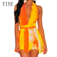 TIYE Women Elegant Backless Gradient Color Playsuits Sexy Deep V Neck Halter Lace Up Jumpsuits Summer Rompers Bohemian Overalls