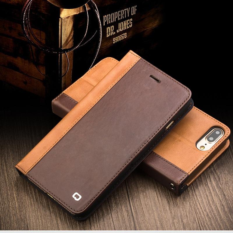 0d4c43af487c Qialino чехол для iPhone 7 Пояса из натуральной кожи роскошные модные кожаные  чехол для телефона iPhone